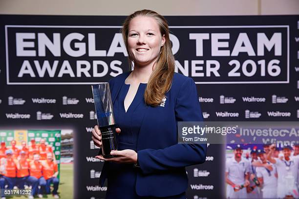 Anya Shrubsole of England poses with the England Women's Cricketer of the Year award during the England Cricketer of the Year Award dinner on May 16...