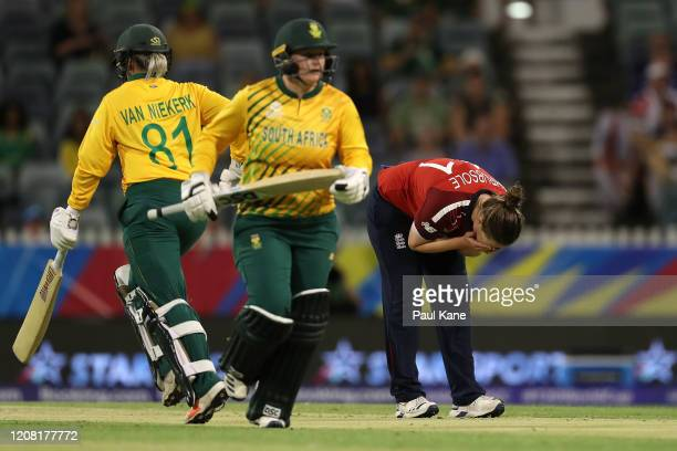 Anya Shrubsole of England reacts as Dane Van Niekerk and Lizelle Lee of South Africa run between wickets during the ICC Women's T20 Cricket World Cup...