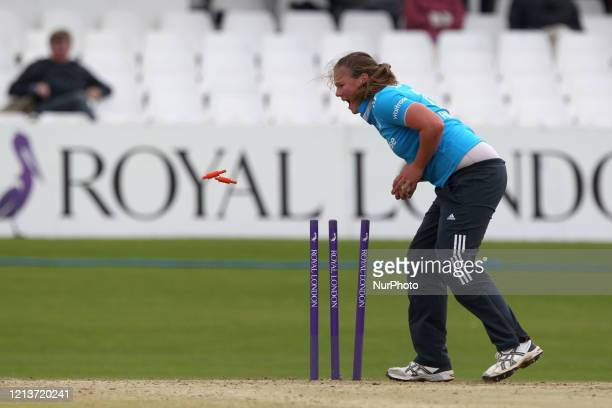 Anya Shrubsole of England runs out India's Jhulan Goswami during the First One Day International between England Women and India Women at Scarborough...