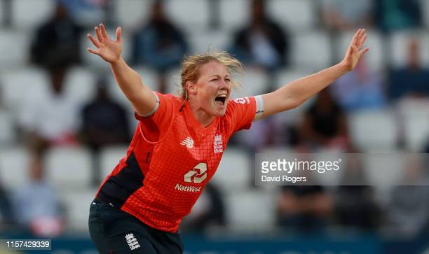 Anya Shrubsole of England successfully appeals after trapping Britney Cooper LBW during the 2nd Vitality Women's IT20 match between England and the...