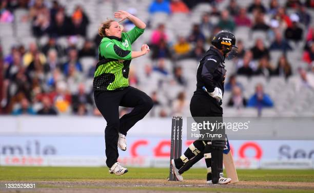 Anya Shrubsole of Southern Brave Women in bowling action during The Hundred match between Manchester Originals Women and Southern Brave Women at...