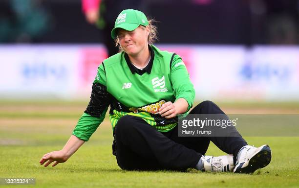 Anya Shrubsole of Southern Brave Women looks on during The Hundred match between Manchester Originals Women and Southern Brave Women at Emirates Old...
