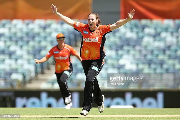 Anya Shrubsole of the Scorchers celebrates the wicket of Dane Van Niekerk of the Sixers during the Women's Big Bash League match between the Perth...
