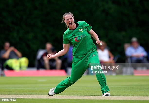 Anya Shrubsole of Western Storm celebrates the wicket of Dane van Nierkerk of Loughborough Lightning during the Kia Super League women's cricket...
