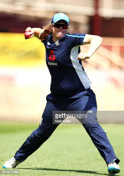 Anya Shrubsole throws during an England women's Ashes series training session at North Sydney Oval on November 7 2017 in Sydney Australia