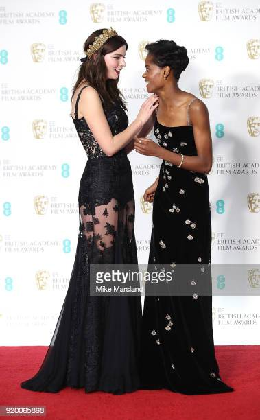 Anya TaylorJoy and Letitia Wright in the press room during the EE British Academy Film Awards held at Royal Albert Hall on February 18 2018 in London...