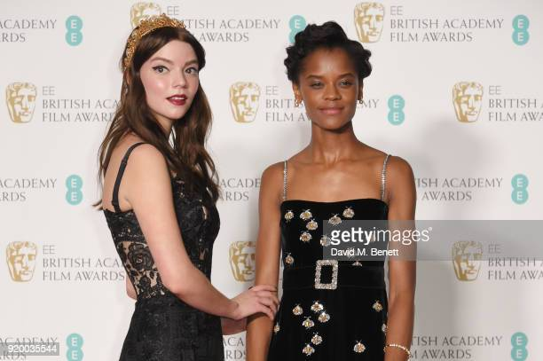 Anya TaylorJoy and Letitia Wright pose in the press room during the EE British Academy Film Awards held at Royal Albert Hall on February 18 2018 in...