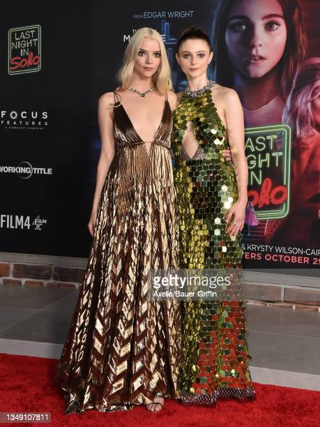 """Anya Taylor-Joy and Thomasin McKenzie attend Focus Features' Los Angeles Premiere of """"Last Night In Soho"""" at Academy Museum of Motion Pictures on..."""