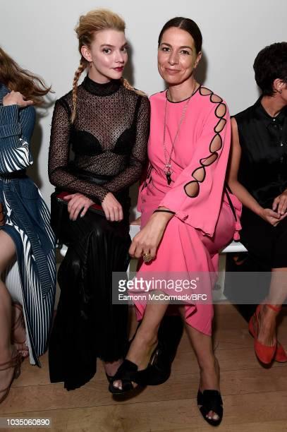 Anya TaylorJoy and Yana Peel attend the Huishan Zhang show during London Fashion Week September 2018 at Royal Academy of Arts Burlington House on...