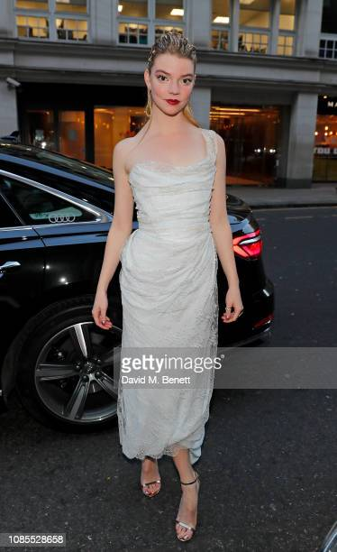 Anya TaylorJoy arrives in an Audi at the London Critics' Circle Film Awards 2019 at The Mayfair Hotel on January 20 2019 in London Englan