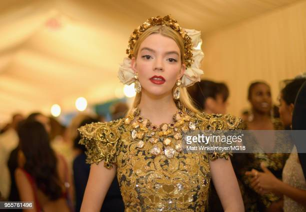 Anya TaylorJoy attends the Heavenly Bodies Fashion The Catholic Imagination Costume Institute Gala at The Metropolitan Museum of Art on May 7 2018 in...