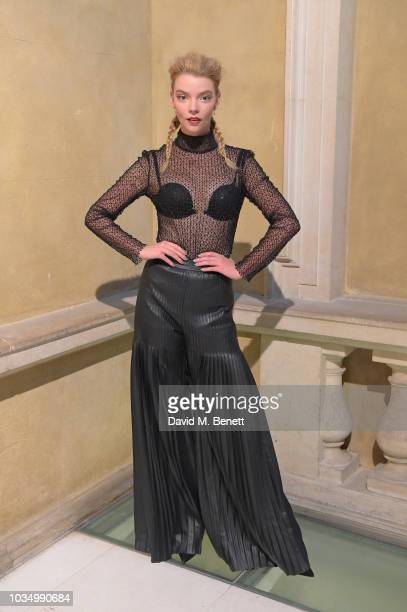 Anya TaylorJoy attends the Huishan Zhang front row during London Fashion Week September 2018 at the Royal Academy of Arts on September 17 2018 in...