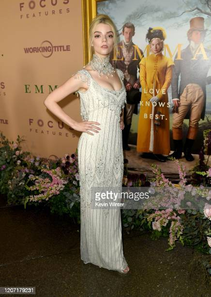 "Anya Taylor-Joy attends the premiere of Focus Features' ""Emma."" at DGA Theater on February 18, 2020 in Los Angeles, California."