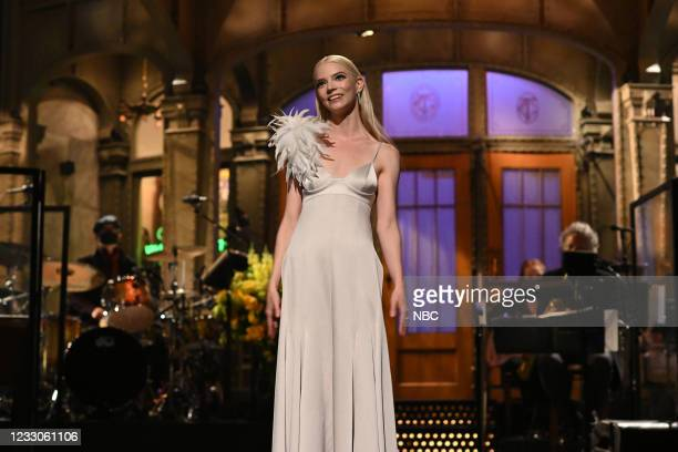 """Anya Taylor-Joy"""" Episode 1805 -- Pictured: Host Anya Taylor-Joy during the Monologue on Saturday, May 22, 2021 --"""
