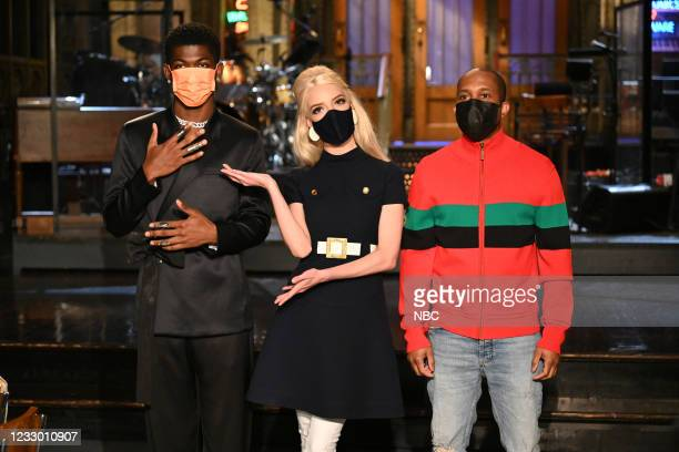 """Anya Taylor-Joy"""" Episode 1805 -- Pictured: Musical guest Lil Nas X, host Anya Taylor-Joy, and Chris Redd during Promos in Studio 8H on Thursday, May..."""