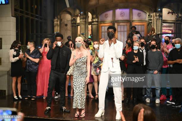 """Anya Taylor-Joy"""" Episode 1805 -- Pictured: Special guest Chris Rock, host Anya Taylor-Joy, and musical guest Lil Nas X during """"Goodnights & Credits""""..."""
