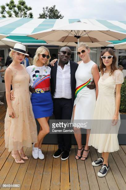Anya TaylorJoy Poppy Delevingne Edward Enninful Lara Stone and Alexa Chung attend the Polo Ralph Lauren and British Vogue Wimbledon day on July 9...