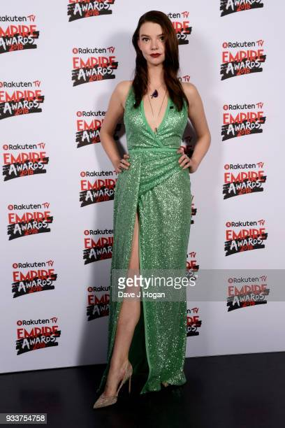 Anya TaylorJoy poses in the winners room at the Rakuten TV EMPIRE Awards 2018 at The Roundhouse on March 18 2018 in London England
