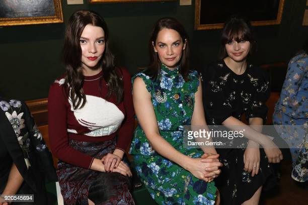 Anya TaylorJoy Ruth Wilson and Felicity Jones attend the ERDEM show during London Fashion Week February 2018 on February 19 2018 in London England