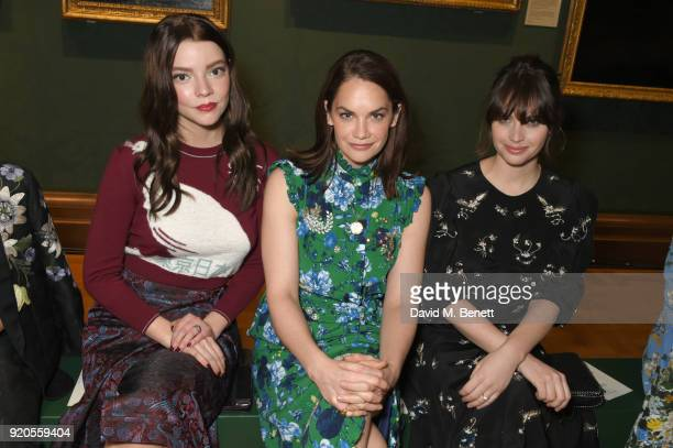 Anya TaylorJoy Ruth Wilson and Felicity Jones attend the Erdem show during London Fashion Week February 2018 at National Portrait Gallery on February...