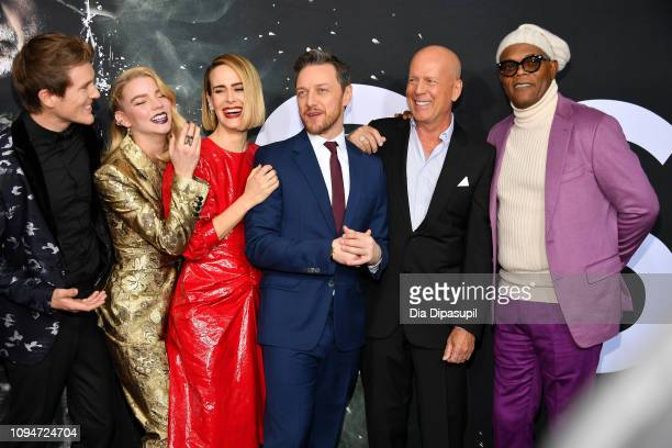 """Anya Taylor-Joy, Sarah Paulson, James McAvoy, Bruce Willis and Samuel L. Jackson attends the """"Glass"""" NY Premiere at SVA Theater on January 15, 2019..."""