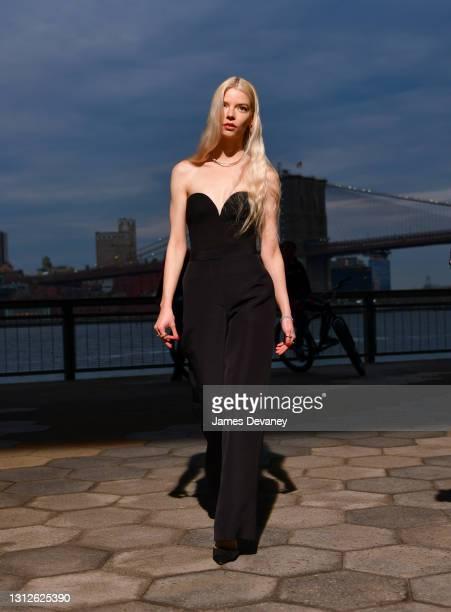 Anya Taylor-Joy seen filming Tiffany & Co. Commercial under Manhattan Bridge on April 14, 2021 in New York City.
