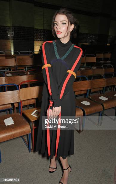 Anya TaylorJoy wearing Burberry at the Burberry February 2018 show during London Fashion Week at Dimco Buildings on February 17 2018 in London England