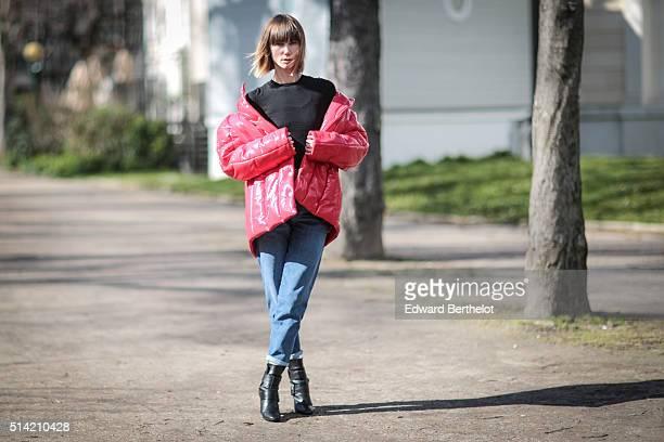 Anya Ziourova is seen after the Giambattista Valli show during Paris Fashion Week Womenswear Fall Winter 2016/2017 on March 7 2016 in Paris France
