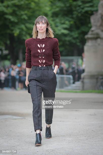 Anya Ziourova is seen after the Giambattista Valli show during Paris Fashion Week Haute Couture F/W 2016/2017 on July 4 2016 in Paris France