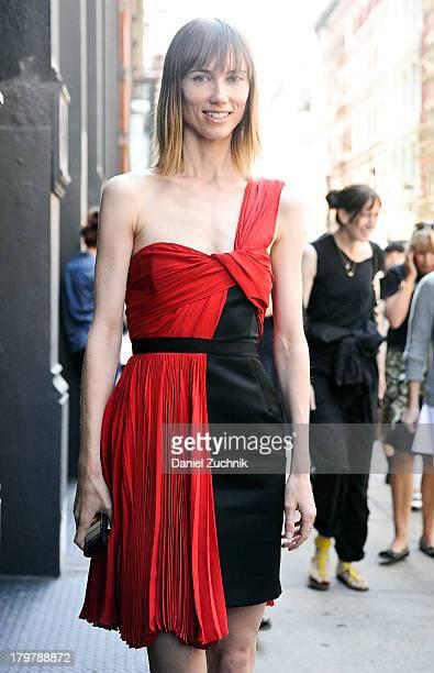 Anya Ziourova is seen outside the Jason Wu show wearing a Jason Wu dress on September 6 2013 in New York City