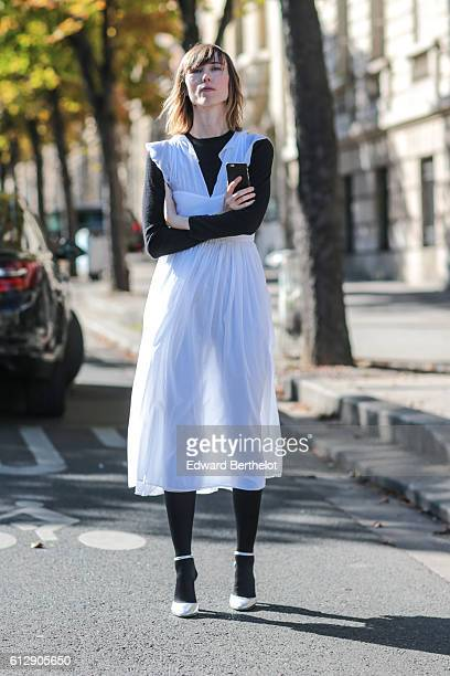Anya Ziourova is seen outside the Miu Miu show during Paris Fashion Week Spring Summer 2017 on October 5 2016 in Paris France
