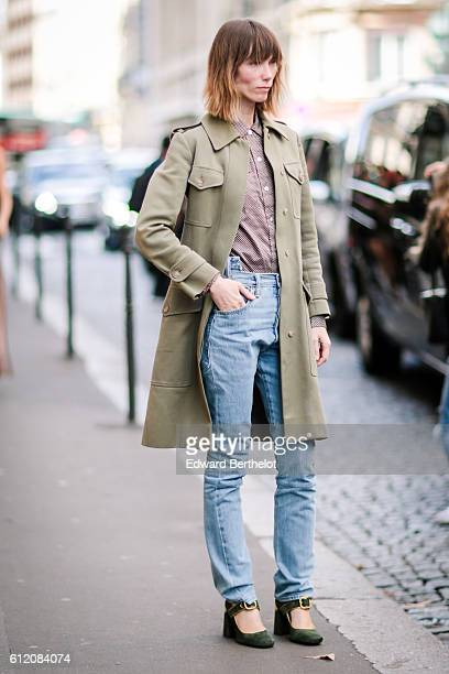 Anya Ziourova is seen outside the Valentino show during Paris Fashion Week Spring Summer 2017 on October 2 2016 in Paris France