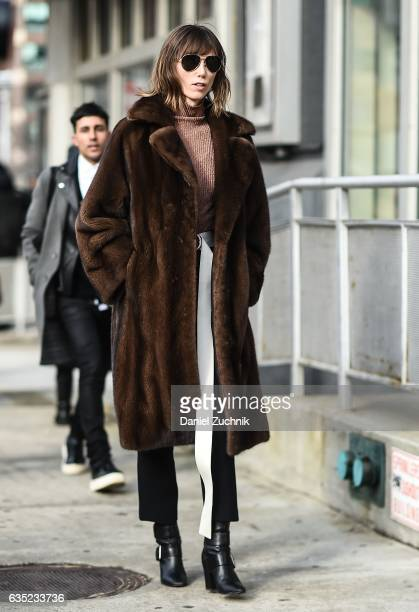 Anya Ziourova is seen wearing a brown fur coat outside of the 31 Phillip Lim show during New York Fashion Week Women's Fall/Winter 2017 on February...
