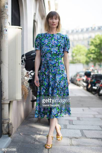 Anya Ziourova poses after the Valentino show at the Hotel Salomon de Rothschild during Paris Fashion Week Haute Couture FW 17/18 on July 5 2017 in...