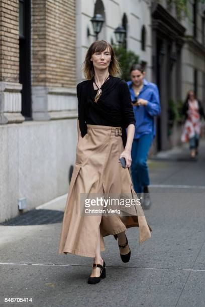 Anya Ziourova seen in the streets of Manhattan outside Marc Jacobs during New York Fashion Week on September 13 2017 in New York City