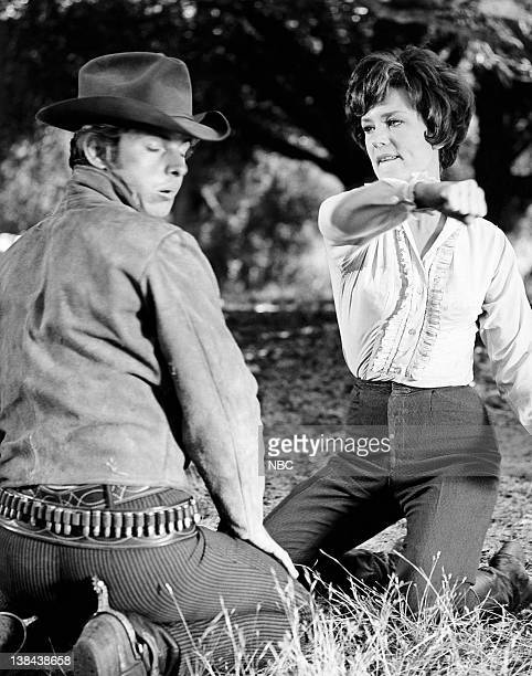 LAREDO Anybody Here Seen Billy Episode 6 Aired 10/21/65 Pictured Peter Brown as Chad Cooper Joan Staley as Laurie Martin