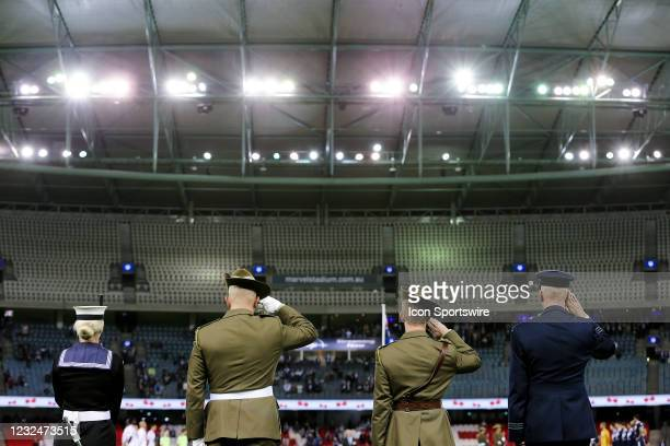 Anzac Day ceremonies before the Hyundai A-League soccer match between Melbourne Victory and Western Sydney Wanderers FC on April 23, 2021 at Marvel...