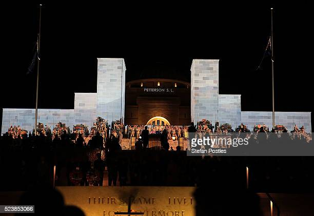 Anzac Day dawn service at the Australian War Memorial on April 25, 2016 in Canberra, Australia. Australians are commemorating 101 years since the...