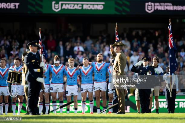 Anzac Day proceedings before the round seven NRL match between the Sydney Roosters and St George Illawarra Dragons at The Sydney Cricket Ground on...