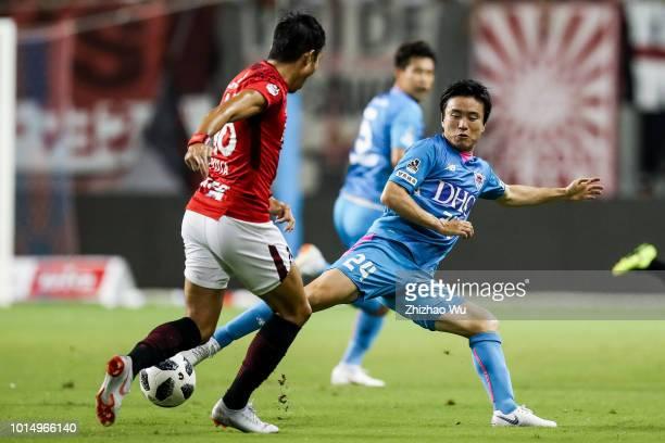 Anzai Kazuki in action during the J.League J1 match between Sagan Tosu and Urawa Red Diamonds at Best Amenity Stadium on August 11, 2018 in Tosu,...