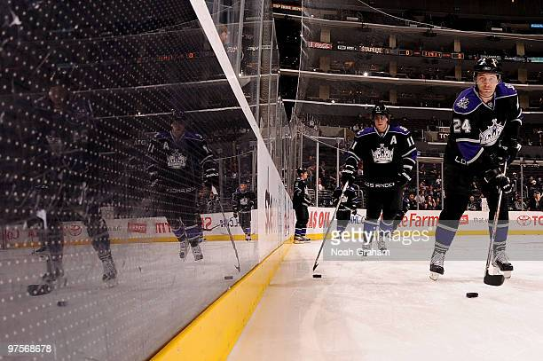 Anze Kopitar and Alexander Frolov of the Los Angeles Kings skate on the ice prior to the game against the Columbus Blue Jackets on March 8 2010 at...
