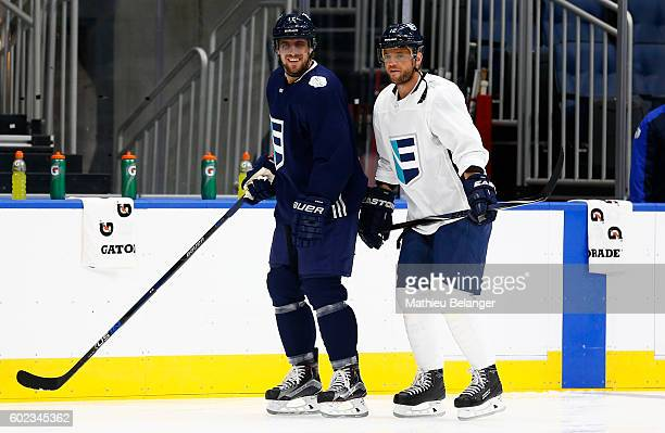 Anze Kopitar and Marian Gaborik of Team Europe skate during a practice at the Centre Videotron on September 7 2016 in Quebec City Quebec Canada