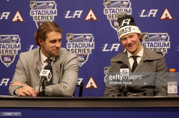 Anze Kopitar and Tyler Toffoli of the Los Angeles Kings speak to the media after the 2020 NHL Stadium Series game between the Los Angeles Kings and...