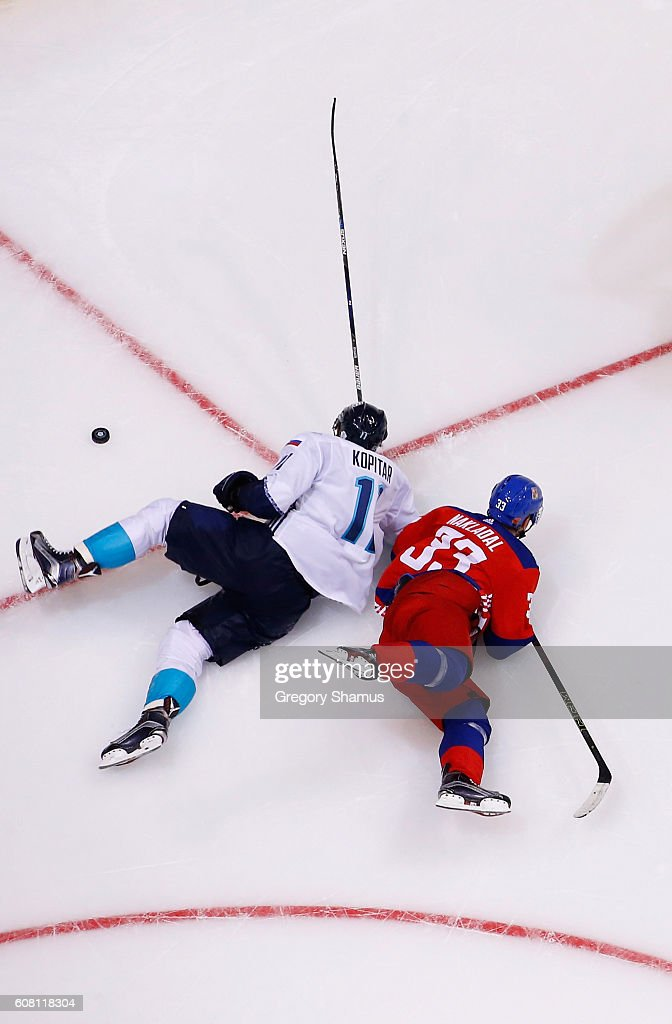 Anze Kopitar #11 of Team Europe battles for the puck with Jakub Nakladal #33 of Team Czech Republic during the World Cup of Hockey at the Air Canada Center on September 19, 2016 in Toronto, Canada. Team Europe won the game 3-2 in overtime.