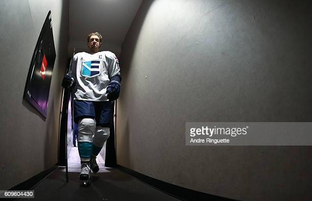 Anze Kopitar of Team Europe leaves the ice from warms up prior to a game against Team Canada during the World Cup of Hockey 2016 at Air Canada Centre...