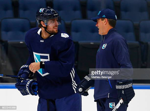 Anze Kopitar of Team Europe speaks with an assistant coach during a practice at the Centre Videotron on September 7 2016 in Quebec City Quebec Canada