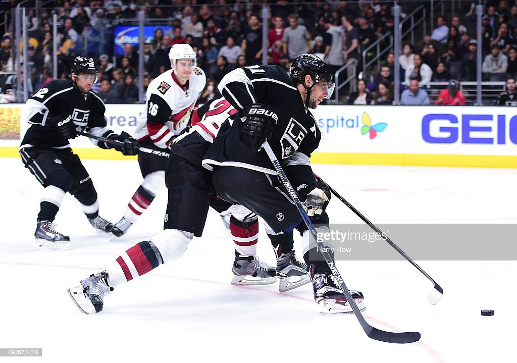 Anze Kopitar #11 of the Los Angeles Kings breaks in for a shot during a preseason game against the Arizona Coyotes at Staples Center on September 22, 2015 in Los Angeles, California.