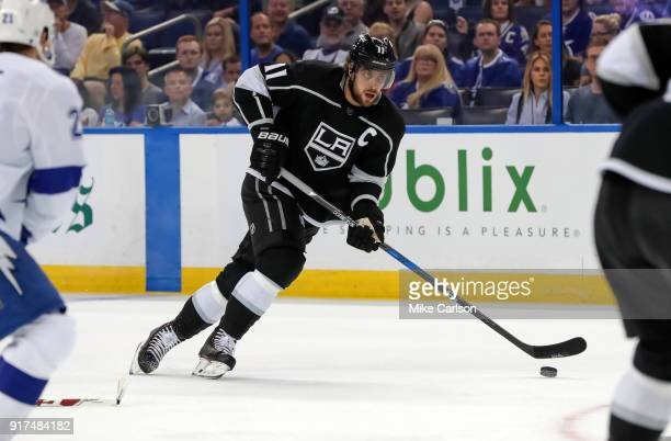 Anze Kopitar of the Los Angeles Kings brings the puck up against the Tampa Bay Lightning at the Amalie Arena on February 10 2018 in Tampa Florida