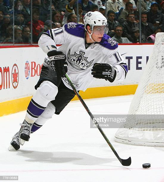 Anze Kopitar of the Los Angeles Kings carries the puck against the Vancouver Canucks at General Motors Place on October 19, 2007 in Vancouver,...