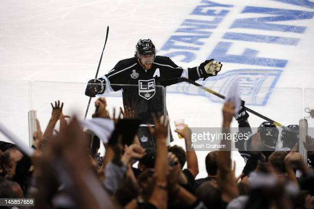 Anze Kopitar of the Los Angeles Kings celebrates after a goal against the New Jersey Devils in Game Four of the 2012 Stanley Cup Final at Staples...